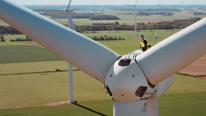 DTE Energy Repairman on windmill