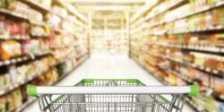 Image of shopping cart in a grocery store