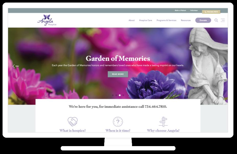 Angela Hospice website on a desktop computer