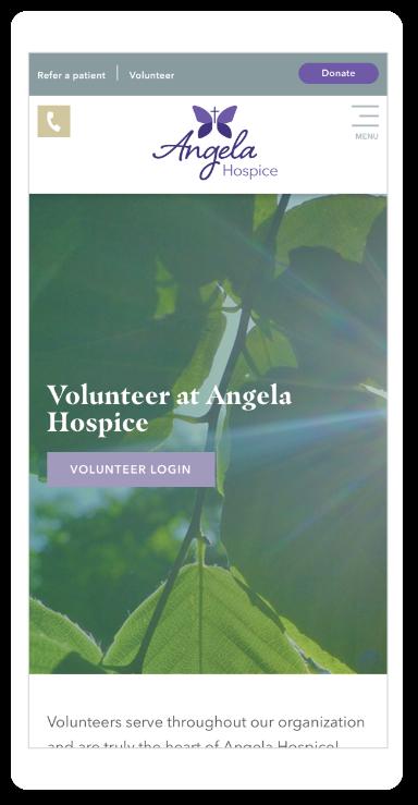 Angela Hospice website on a mobile phone